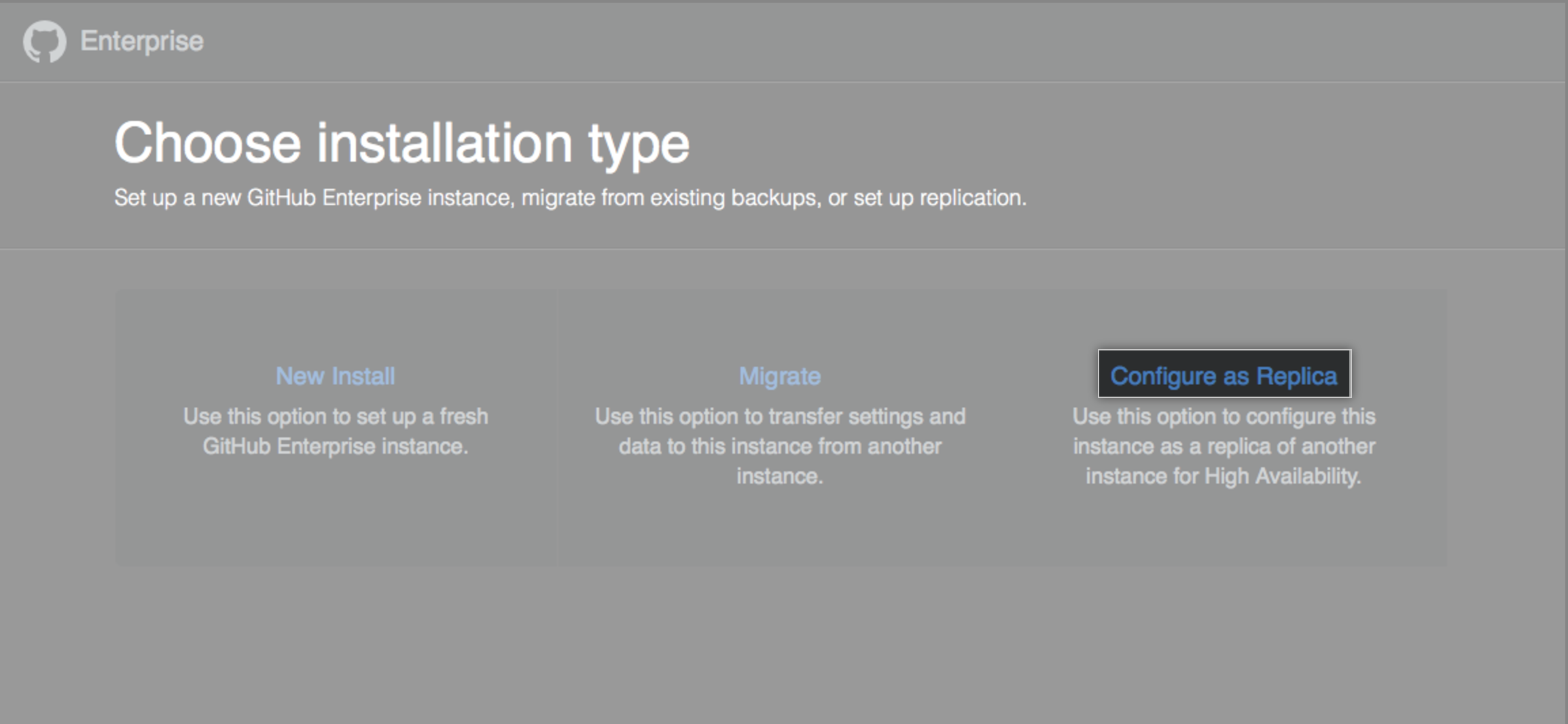 Installation options with link to configure your new instance as a replica