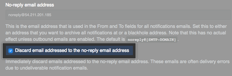 Checkbox to discard emails addressed to the no-reply email address