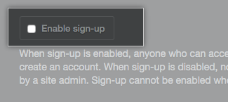 Enable sign-up checkbox