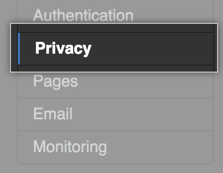Privacy tab in the settings sidebar