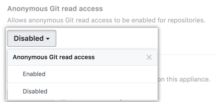 "Anonymous Git read access drop-down menu showing menu options ""Enabled"" and ""Disabled"""