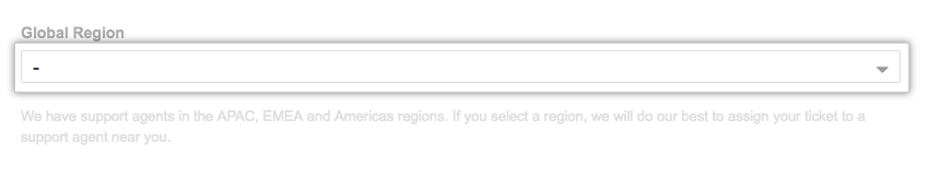 Global Region drop-down menu