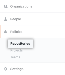 Repositories tab in the enterprise account settings sidebar