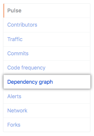 Dependency graph tab in the left sidebar