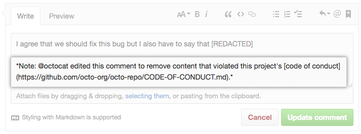 Comment window with added note that content was redacted