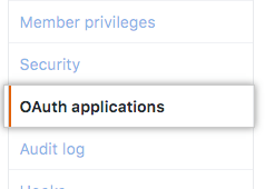 Aba OAuth applications (aplicativos OAuth) na barra lateral esquerda