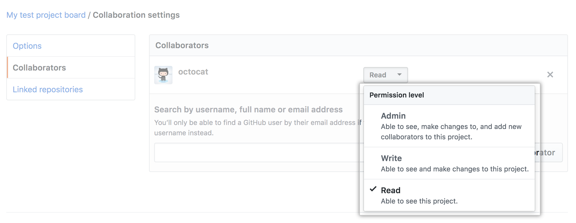 The Collaborators section with the Permissions drop-down menu selected