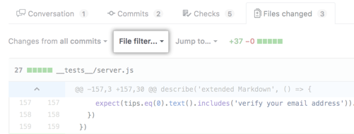 File filter option above pull request diff
