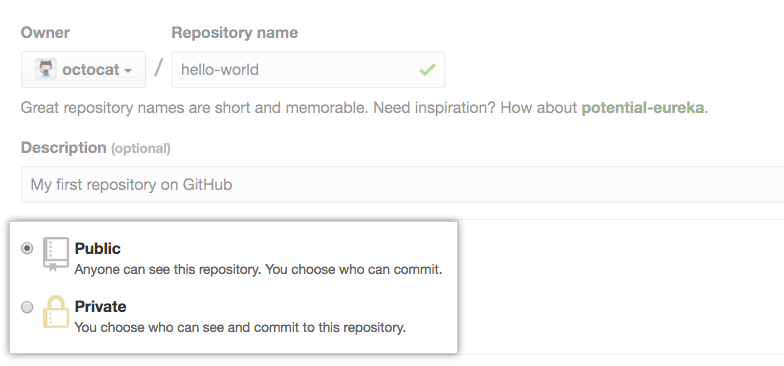 Radio buttons to select repository visibility