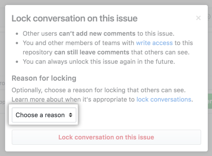 Menu Reason for locking a conversation (Motivo para bloquear uma conversa)