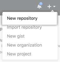 Desplegable Create New Repository (Crear nuevo repositorio)