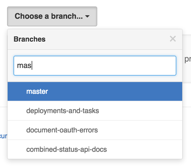 Selecting a protected branch drop-down menu