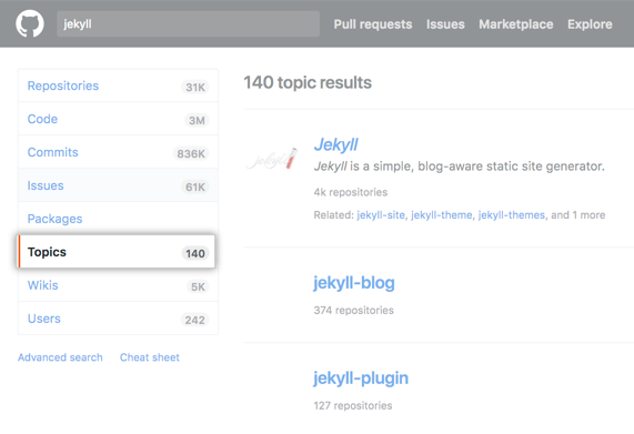 Jekyll repository search results page with topics side-menu option highlighted