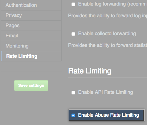 Checkbox for enabling abuse rate limiting