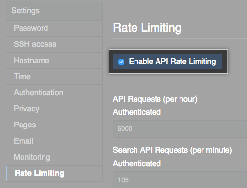 Checkbox for enabling API rate limiting
