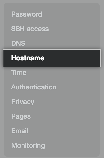 Hostname tab in the settings sidebar