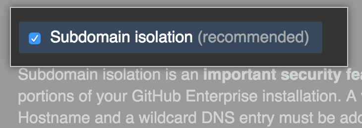 Checkbox to enable subdomain isolation