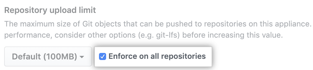 Enforce maximum object size on all repositories option