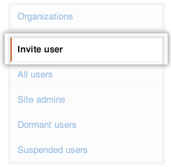 Invite user tab in the site admin console