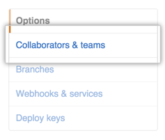 Repository settings sidebar with Collaborators & teams highlighted