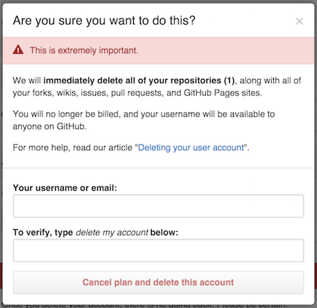 Delete account confirmation dialog
