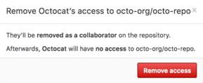 Confirm outside collaborator who will be removed from the repository