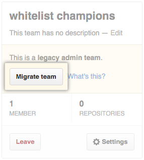 Migrate team button