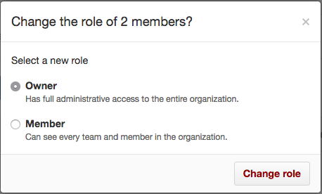 Radio buttons with owner and member roles and Change role button