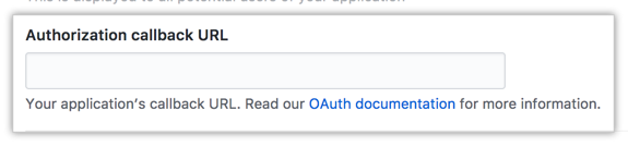 Field for the authorization callback URL of your app