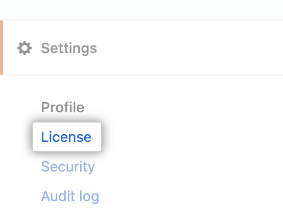 """License"" tab in the enterprise account settings sidebar"
