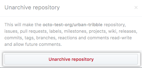Archive repository button