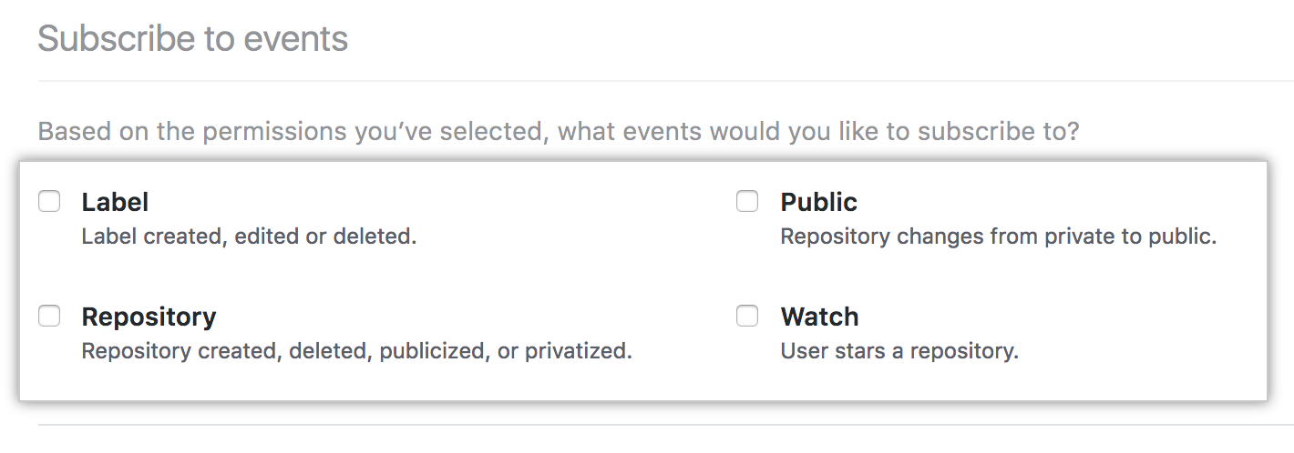 Subscribe to events checkboxes