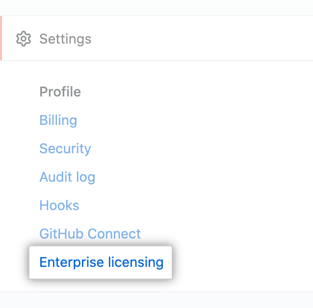 "[Enterprise account settings] サイトバーの ""Enterprise licensing"""