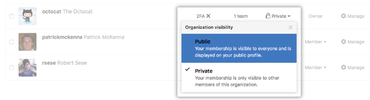 Organization member visibility link