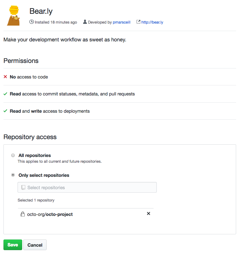Option to give the aplicativo GitHub access to all repositories or specific repositories