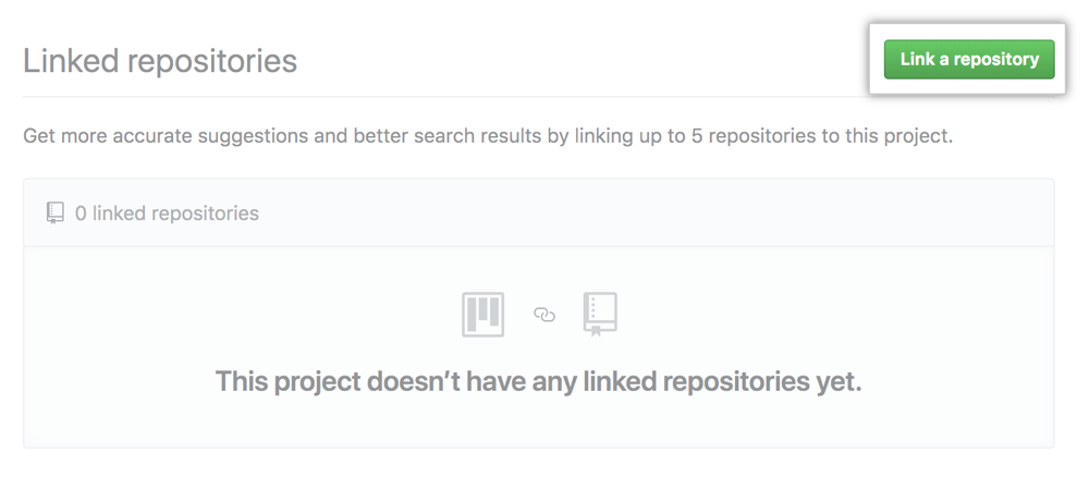 Link a repository button on Linked repositories tab