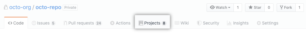 Project tab
