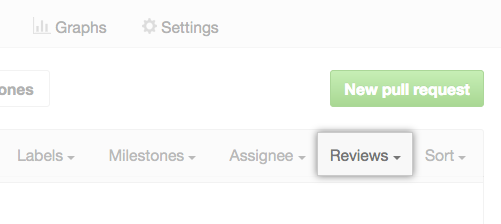 Reviews drop-down menu in the filter menu above the list of pull requests