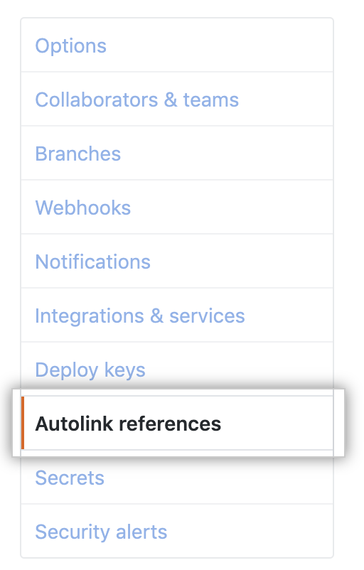 Autolink references tab in the left sidebar