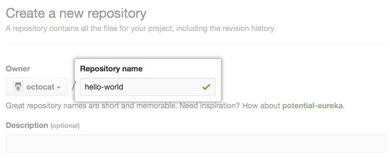 Field for entering a repository name