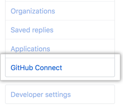 GitHub Connect tab in the user settings sidebar