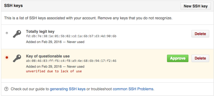 Unverified SSH key
