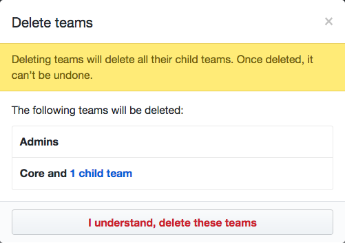 List of teams that will be deleted and Delete teams button