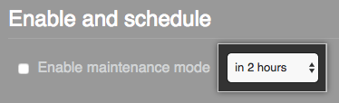 Drop-down menu with the option to schedule a maintenance window in two hours selected