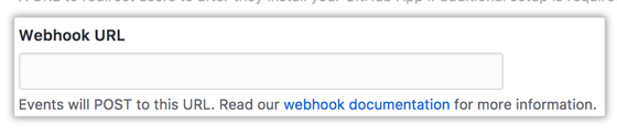 Field for the webhook URL of your GitHub App
