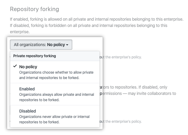Drop-down menu with repository forking policy options