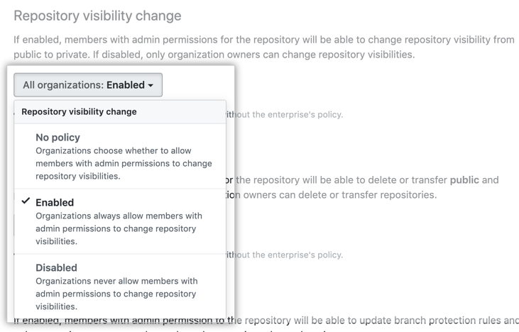 Drop-down menu with repository visibility policy options