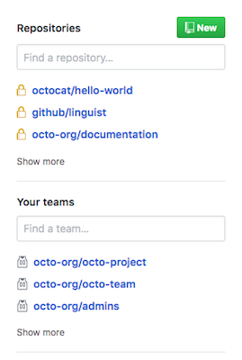 list of repositories and teams from different organizations