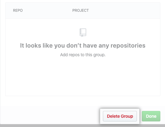 Delete Group button