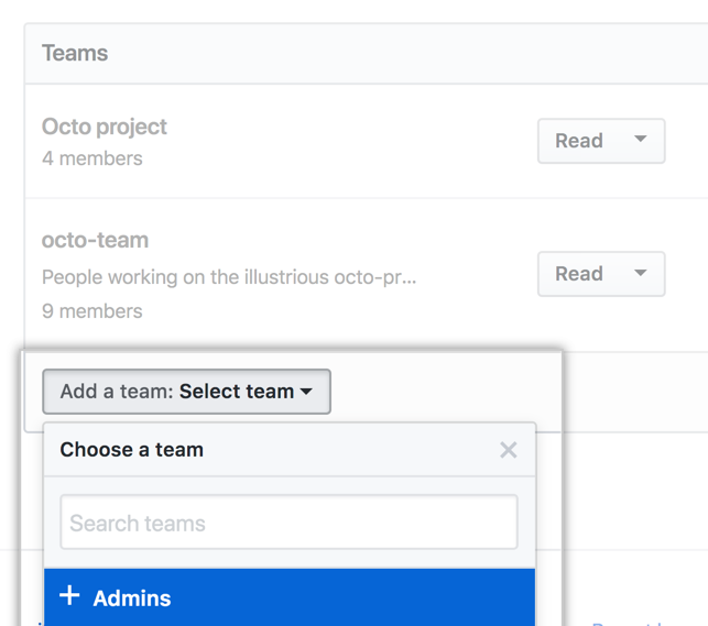Add a team drop-down menu with list of teams in organization